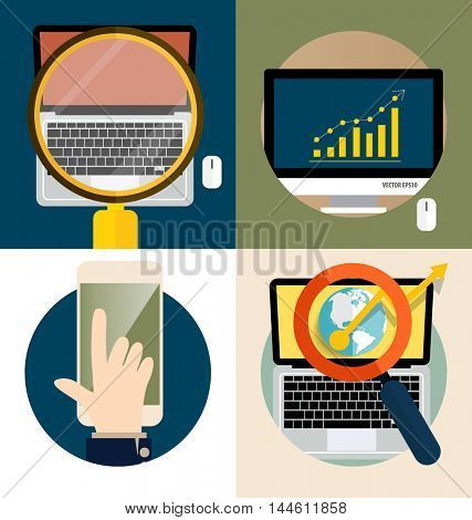 Electronic Device Flat Icons (computer, laptop, mobile phone). Vector illustration