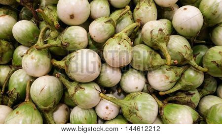 The White Eggplants On Shelf For Sell In Supermarket