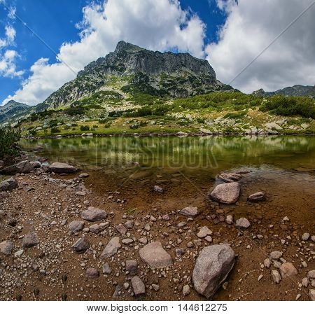 Landscape of Pirin Mountain Lake panoramic shot