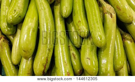 The Long Eggplants On Shelf For Sell In Supermarket