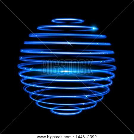 Vector neon light circle in motion. Glowing blue ring trace. Glitter magic sparkle swirl trail effect on black background. Bokeh glitter round wave line with flying sparkling flash lights.