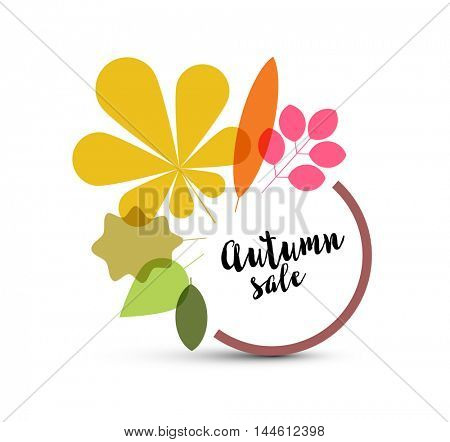 Autumn minimalist sale label made from minimalist leafs with place for your text