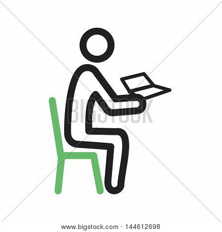 Book, reading, man icon vector image. Can also be used for people. Suitable for use on web apps, mobile apps and print media.