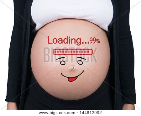 Pregnant woman with loading concept painted on her belly