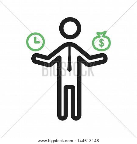 Money, time, worker icon vector image. Can also be used for people. Suitable for mobile apps, web apps and print media.