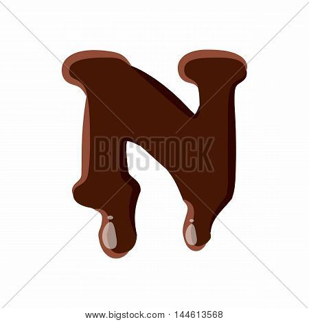 Letter N from latin alphabet with numbers and symbols made of dark melted chocolate