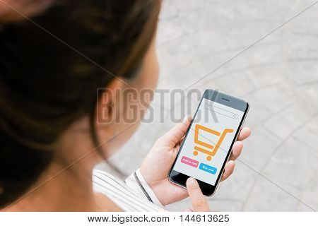 close up woman use phone shopping online on thrid person view
