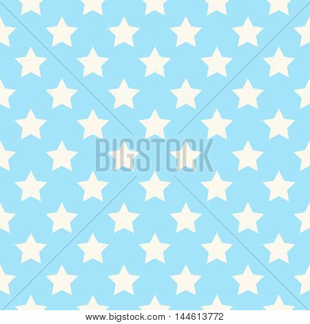 Seamless stars pattern vector in blue tones