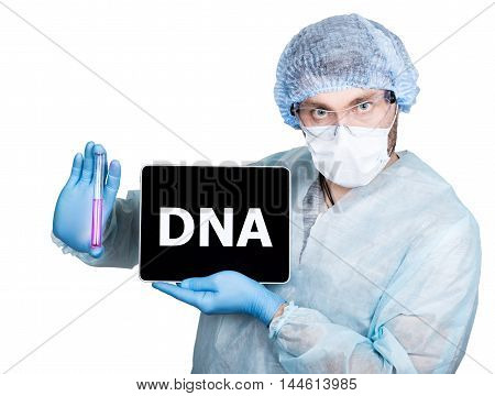 Doctor in surgical uniform, holding test tube and digital tablet pc with dna sign. internet technology and networking in medicine concept. Isolated on white.