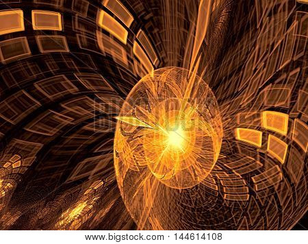 Abstract blurred technology background - computer-generated image. Fractal geometry: tech style spiral with checkered surface and reflections. Digital art for banners, prints, covers