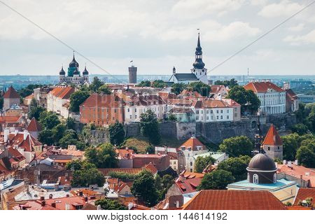 View of Toompea hill with tower Pikk Hermann Cathedral Church of Saint Mary Toomkirik and Russian Orthodox Alexander Nevsky Cathedral from the tower of St. Olaf's church Tallinn Estonia