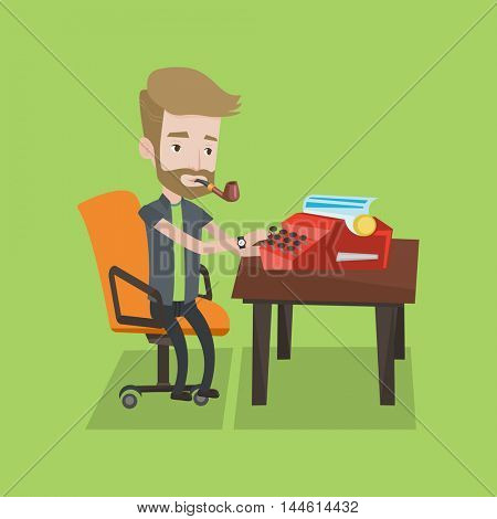 Journalist writing an article on a vintage typewriter. Journalist working on retro typewriter. Hipster journalist smoking pipe during writing an article. Vector flat design illustration.Square layout.