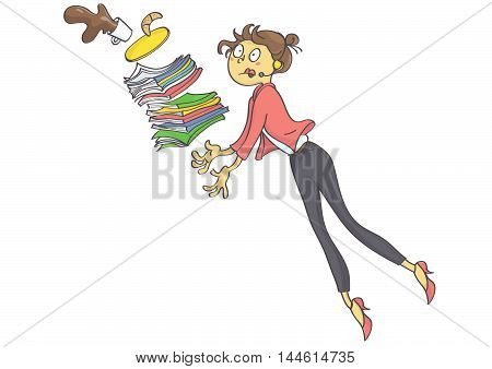 Cartoon illustration of overworked business woman, secretary or trainee stumbling and dropping office stuff and coffee. Vector.