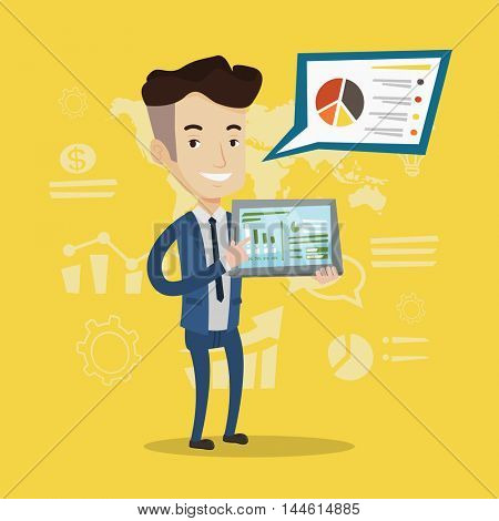 Businessman pointing at the charts on tablet computer screen. Young businessman presenting report with a digital tablet on a background of graphs. Vector flat design illustration. Square layout.