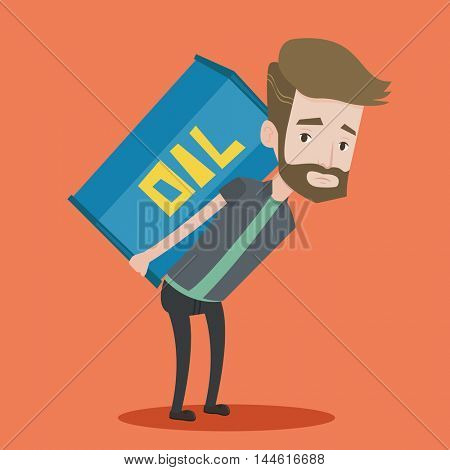 A hipster man with the beard carrying an oil barrel on his back. Sad man walking with oil barrel on his back. Vector flat design illustration. Square layout.