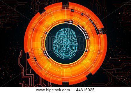Orange light abstract technology background for concept fingerprint scanning