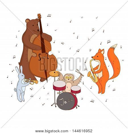 Cute forest animals playing musical instruments. Music group Jazz Band. Children's vector illustration.