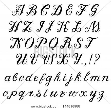 Elegant hand-written calligraphic font. Alphabet, capital letters and lowercase