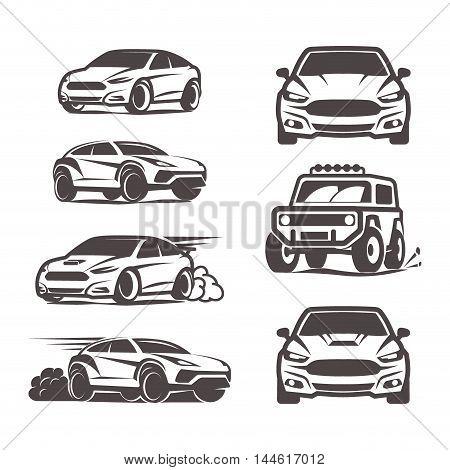 Car Icons Set Sedan Suv 4X4 Sport