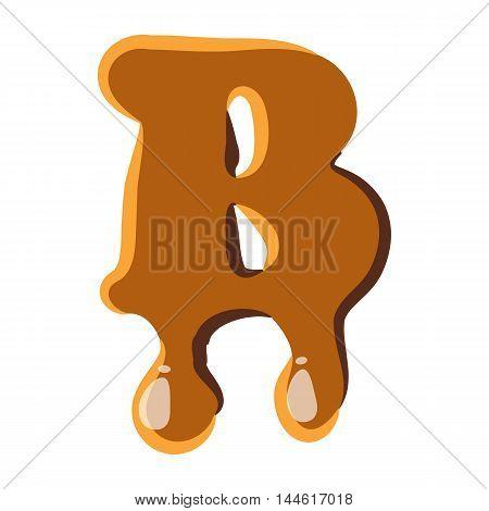 Letter B from caramel icon isolated on white background. Alphabet symbol