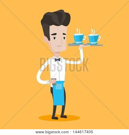 Young waiter holding a tray with cups of tea or coffee. Friendly waiter standing with tray with cups of hot flavored beverages. Vector flat design illustration. Square layout.