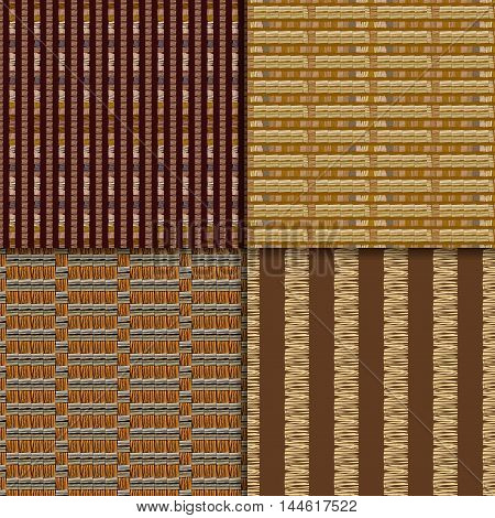 Geometric African Tribal backgrounds. Abstract brown hand drawn seamless patterns, vector set.