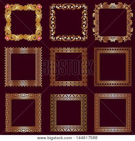 Set of gold frames isolated on burgundy background