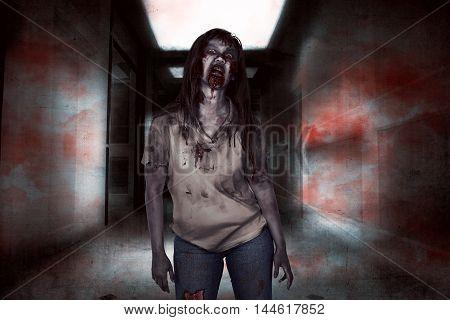 Asian Zombie Woman Walking