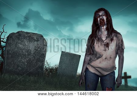 Asian Zombie Woman On The Cemetery