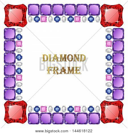 Colorful Diamonds square frame. Vector illustration jewelry. Abstract border on white background.