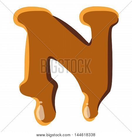 Letter N from caramel icon isolated on white background. Alphabet symbol