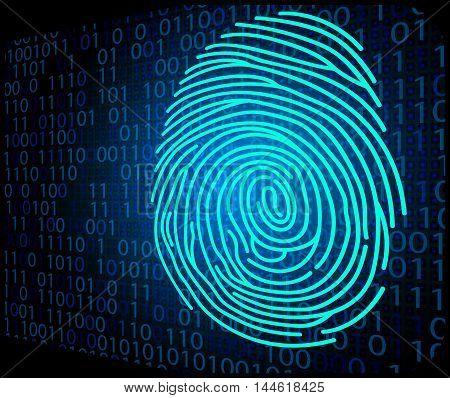 Illustration of  Fingerprint scanning technology background binary code