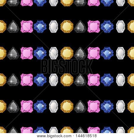 Abstract diamond vector background. Jem seamless pattern.