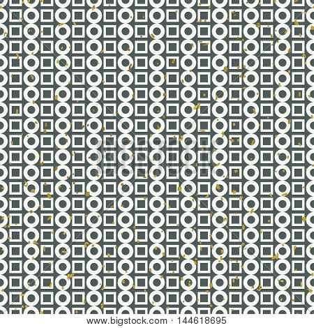 Abstract seamless pattern. Lines made of geometric shapes of circles and squares