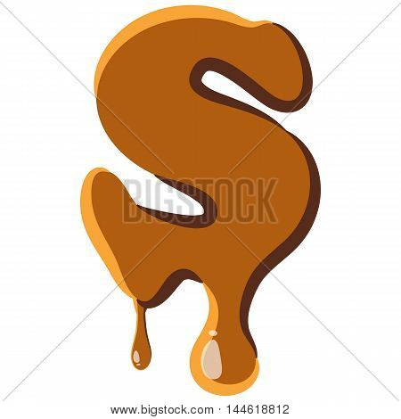 Letter S from caramel icon isolated on white background. Alphabet symbol