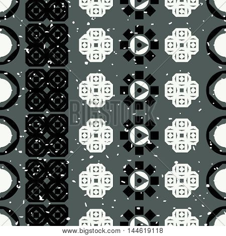 Abstract seamless pattern. Lines made of black and white geometric shapes.