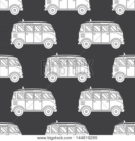 Travel Bus Seamless Pattern