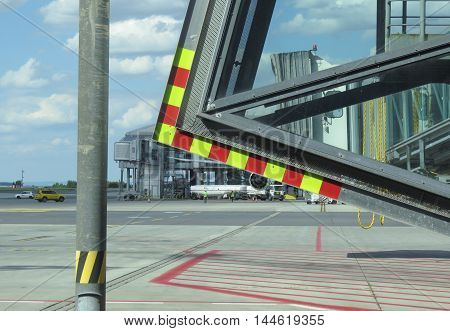 PRAGUE CZECH REPUBLIC - CIRCA JULY 2016: Vaclav Havel airport building and runway
