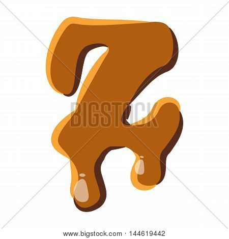 Letter Z from caramel icon isolated on white background. Alphabet symbol