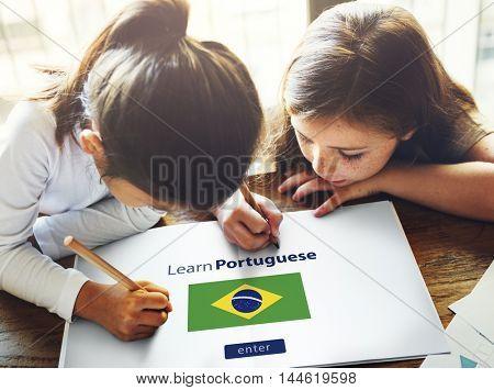 Learn Portuguese Language Online Education Concept