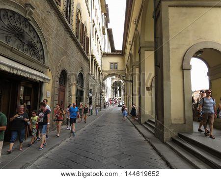 Vasarian Corridor By Ponte Vecchio In Florence