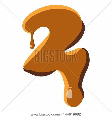 Number 2 from caramel icon isolated on white background. Figure symbol