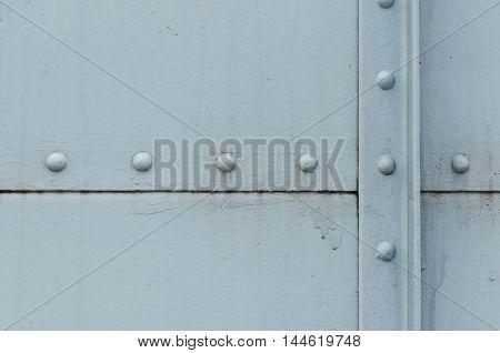 Bogies rusty steel Light blue retro Seam The boundaries of the steel plate