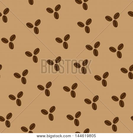 Coffee beans chaotic seamless pattern. Fashion graphic background design. Modern stylish abstract color texture.
