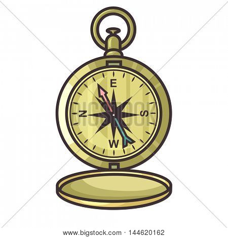 Metal cartoon compass isolated on white background vector illustration