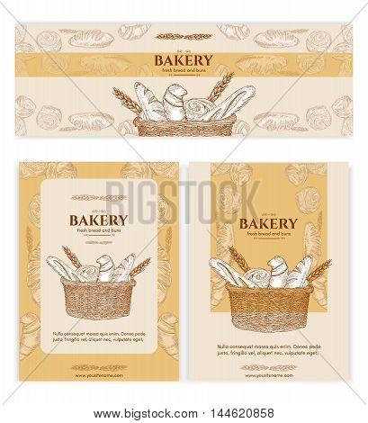 Bakery shop bakery products baking banners bakery template bread basket signage hand drawn vector illustration