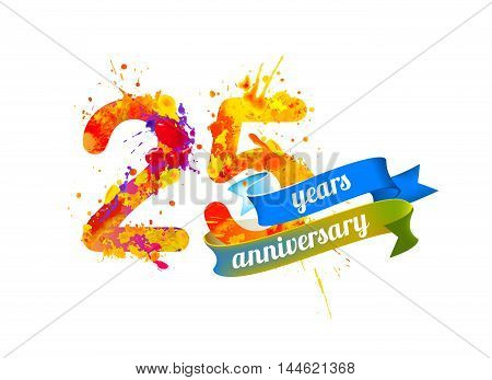 25 (twenty five) years anniversary. Vector watercolor splash paint