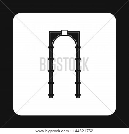 Arch with rectangular pattern icon in simple style isolated on white background. Construction symbol
