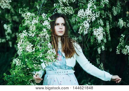 Stylish Spring Bohemian Outfits. Beautiful Young Woman With Long