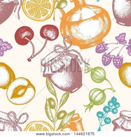 Harvest time seamless pattern berry fruit jam harvest time vector